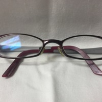 2.  A pair of medium rectangular purple and silver metal glasses.