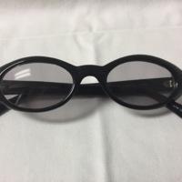 10. A pair of medium ovular black plastic sunglasses.