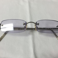 20.A pair of small blue-tinted rectangular frameless glasses with silver earpieces.